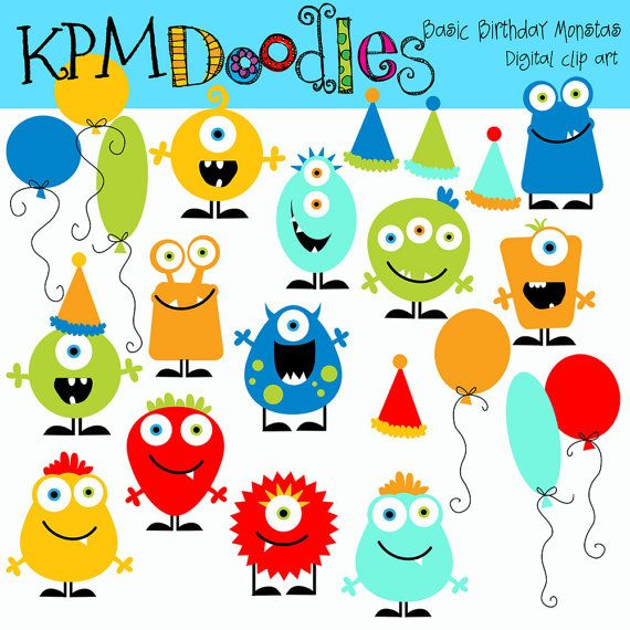 Basic Birthday Monsters digital clipart by kpmdoodles on Etsy, $3.50