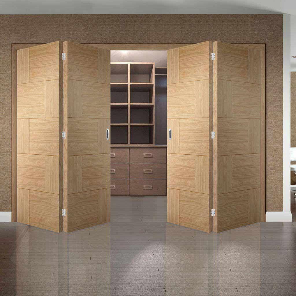 Thrufold Ravenna Oak Flush Panel 2+2 Folding Door - Prefinished - Lifestyle Image - #home #modern #doors