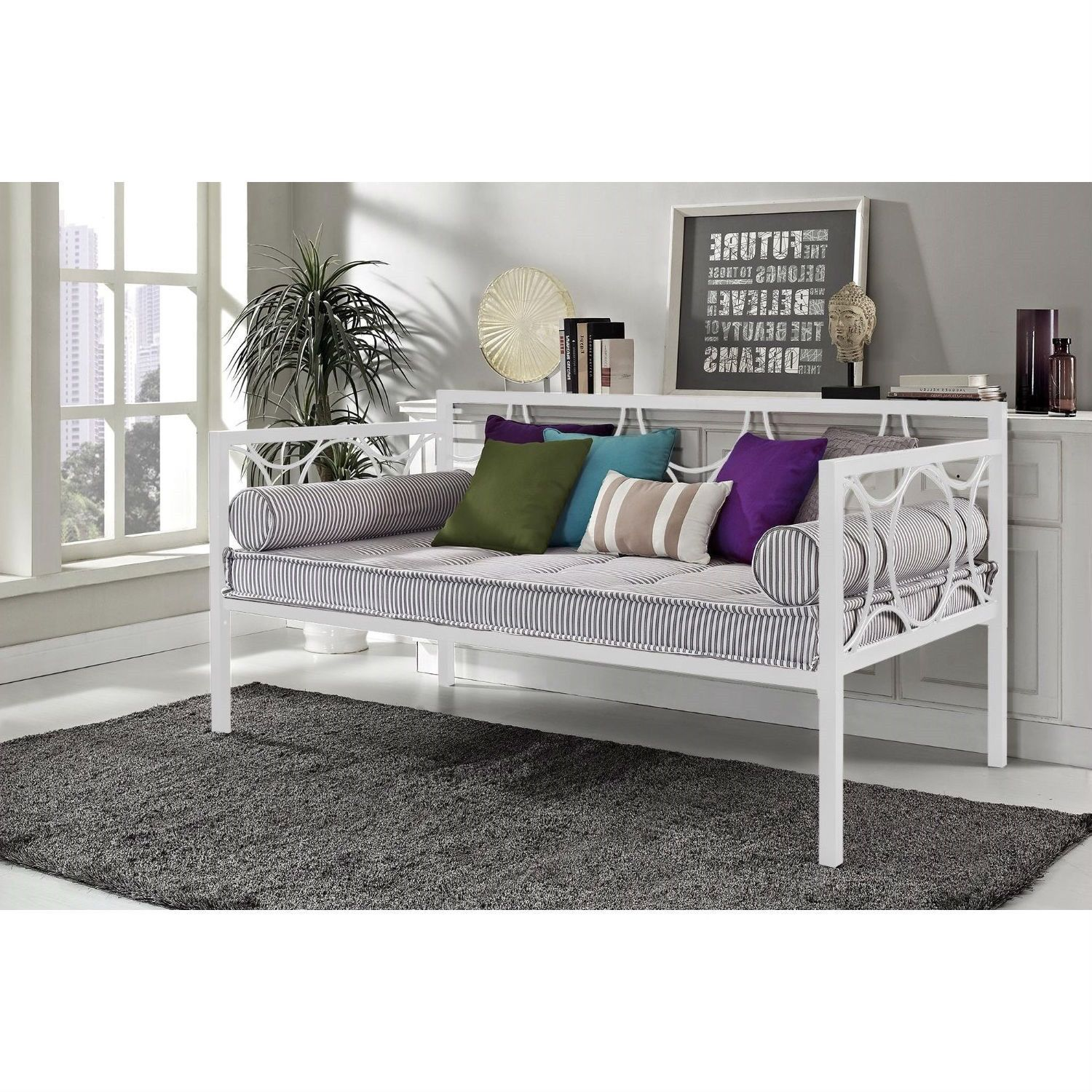 Twin size Modern White Metal Daybed with Circular Motifs