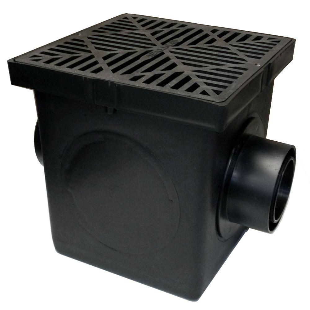 Nds 9 In X 9 In Plastic Square Drainage Catch Basin In Black 2 Opening Kit 900bkit Basin Pergola Kits Backyard Landscaping Designs