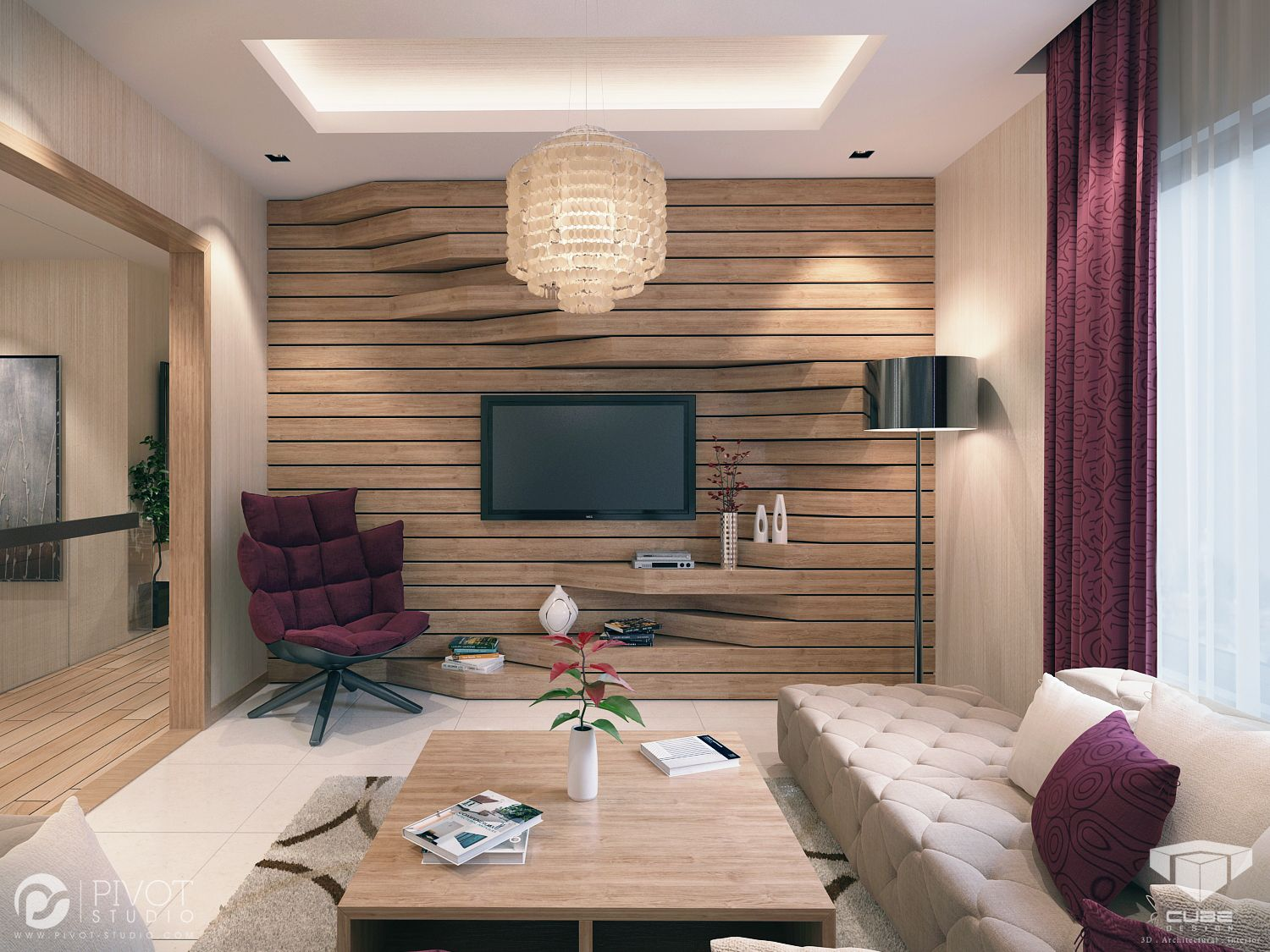 Scroll down to see 12 stacked wood feature wall for - Living room ideas with feature wall ...
