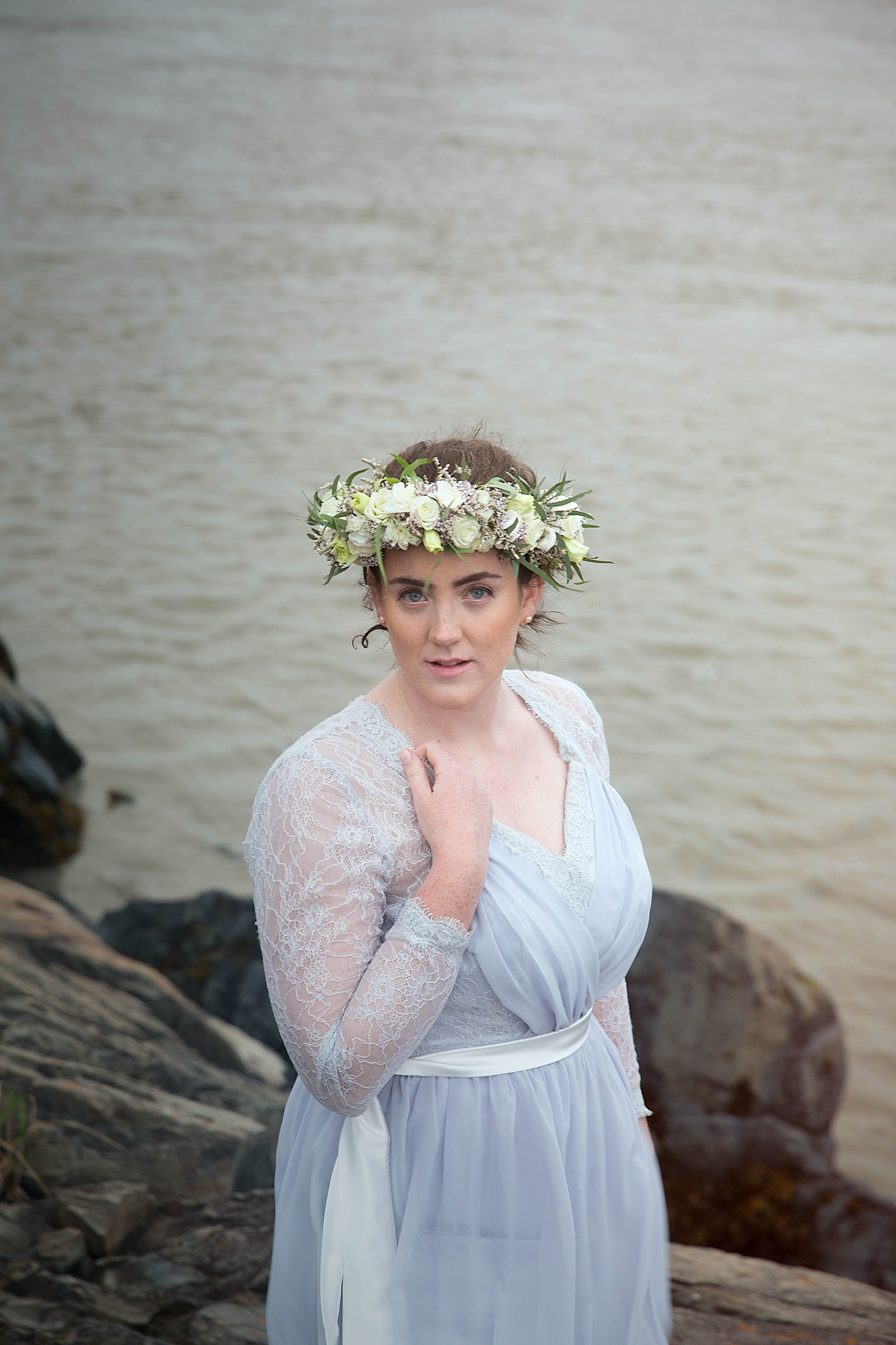 Flower Crown Made With Willow Eucalyptus And White Spray Roses