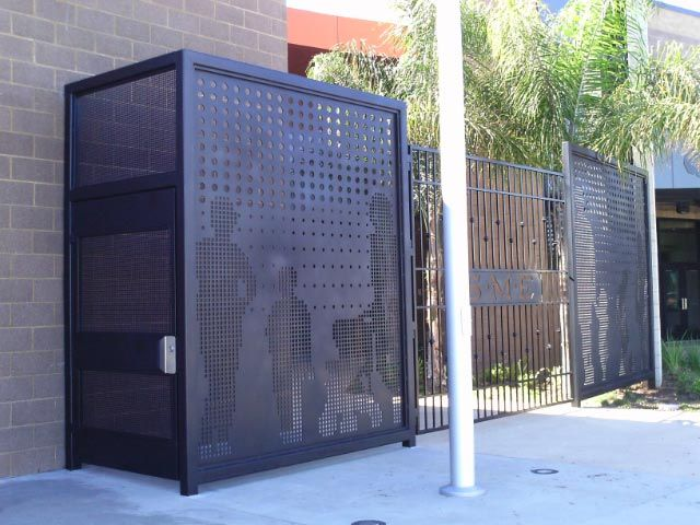 Iron Gate With Perforated Metal Panel Custom Water Jet