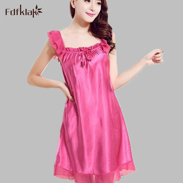 Large size silk nightgown ruffles dressing gowns for women elegant ...