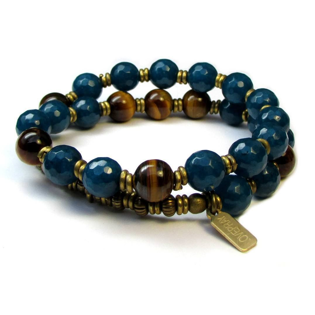 Bracelets - Clarity And Prosperity, Genuine Sapphire Jade And Tiger's Eye 27 Bead Wrap Bracelet™