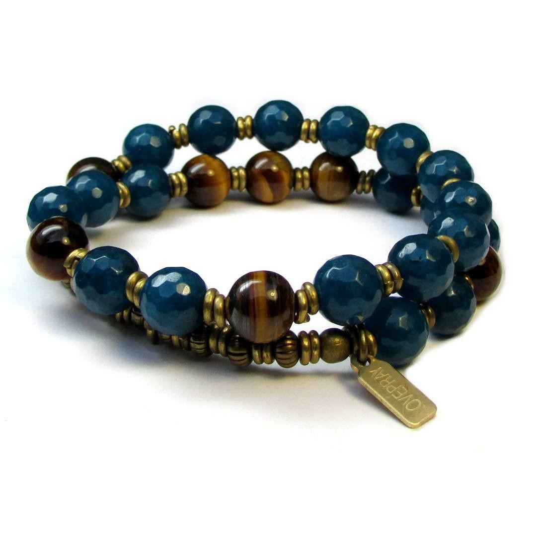 Bracelets - Clarity And Prosperity, Genuine Sapphire Jade And Tiger's Eye 27 Bead Wrap Bracelet™
