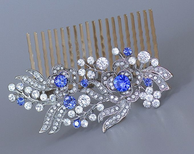 VINTAGE RHINESTONE Bridal Hair Comb Gold Navy Montana AB Sapphire Blue Hair Accessories Mother Wedding One of a Kind Couture Navettes
