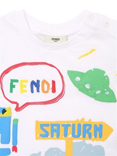 FENDI - SATURN PRINTED COTTON JERSEY T-SHIRT - T-SHIRTS - WHITE - LUISAVIAROMA