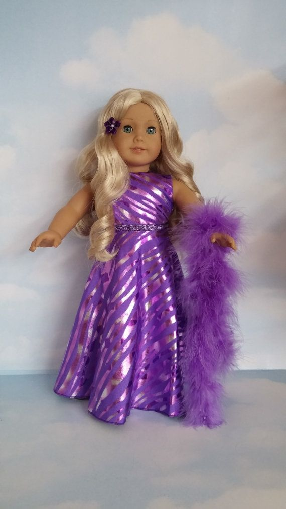 18 inch doll clothes - Purple Gown and Boa - #244