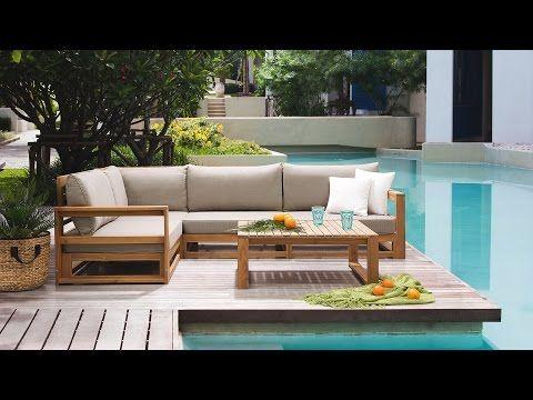 Lounge Set Holz braun 4-Sitzer Auflagen grau TIMOR Gardens - designer gartensofa indoor outdoor