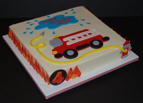Firetruck Birthday Cake Fire engine Birthday cakes and Birthdays