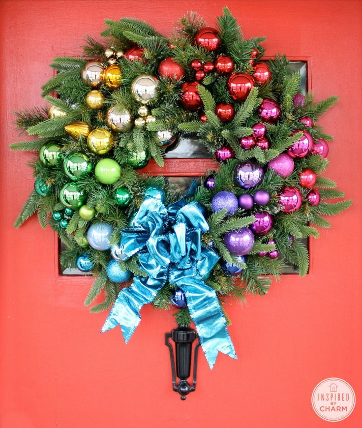 DIY Festive Rainbow Wreath