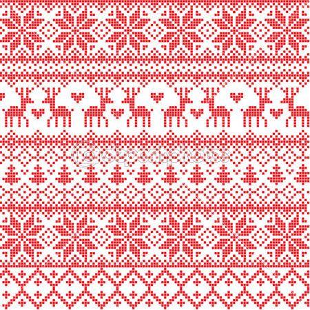 Rote Nordische Muster — Stockilllustration #8063340