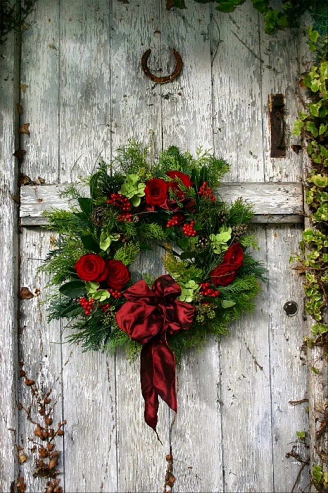 White Door-Red and Green Wreath