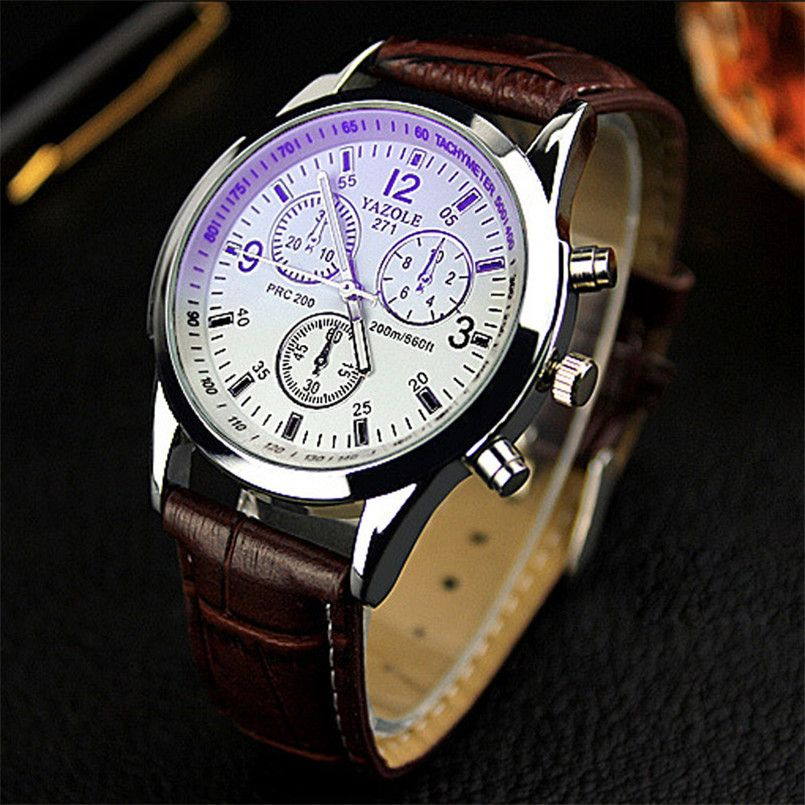 watches brown oukeshi quartz faux leather tachymeter watch men s