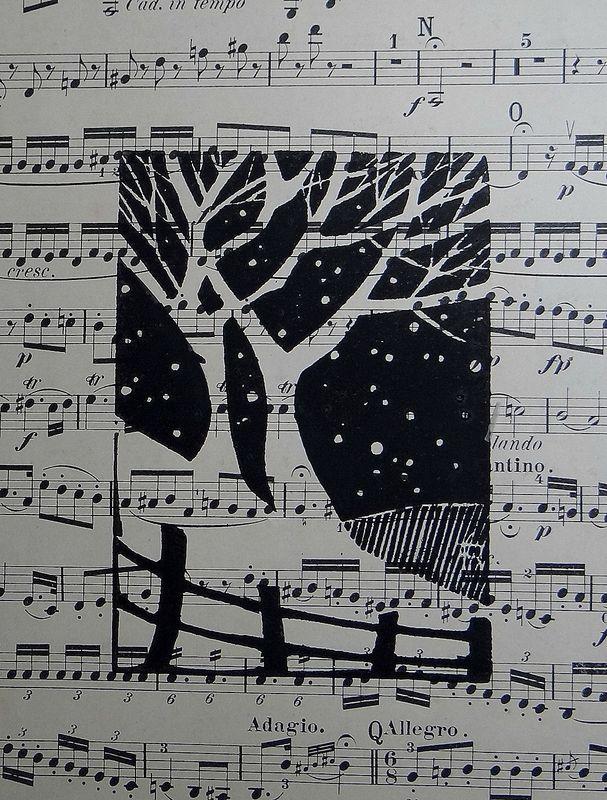 "Linogravure ""Botanique"" - Géraldine THEUROT - artiste-peintre"