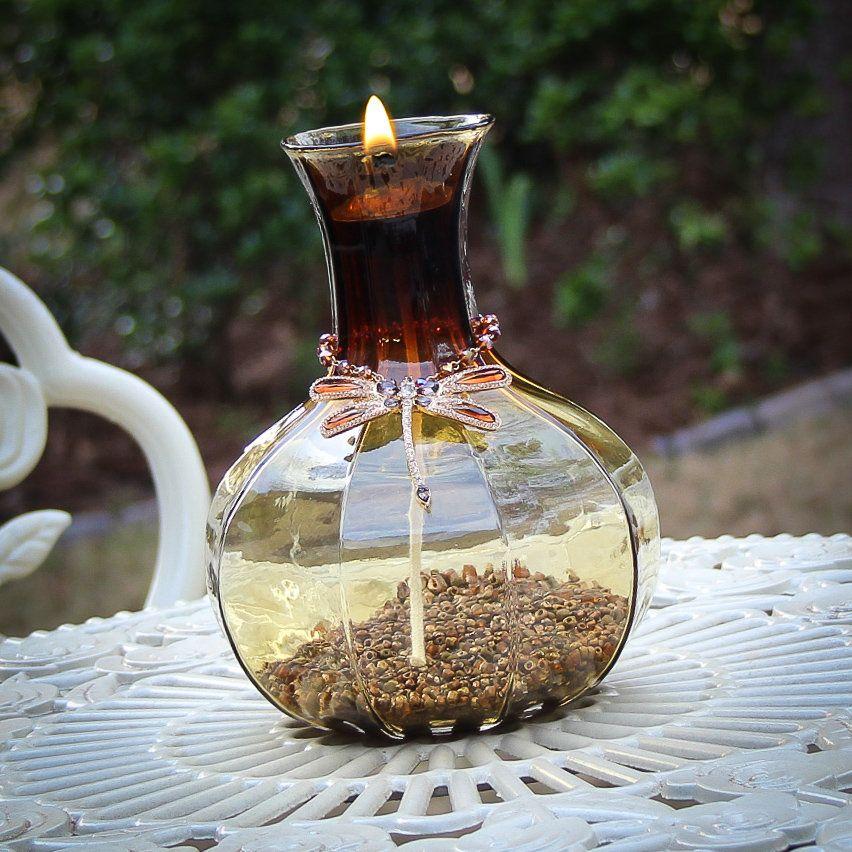 Tiki Torch Oil Lamp 70's Retro Amber Dragonfly Oil