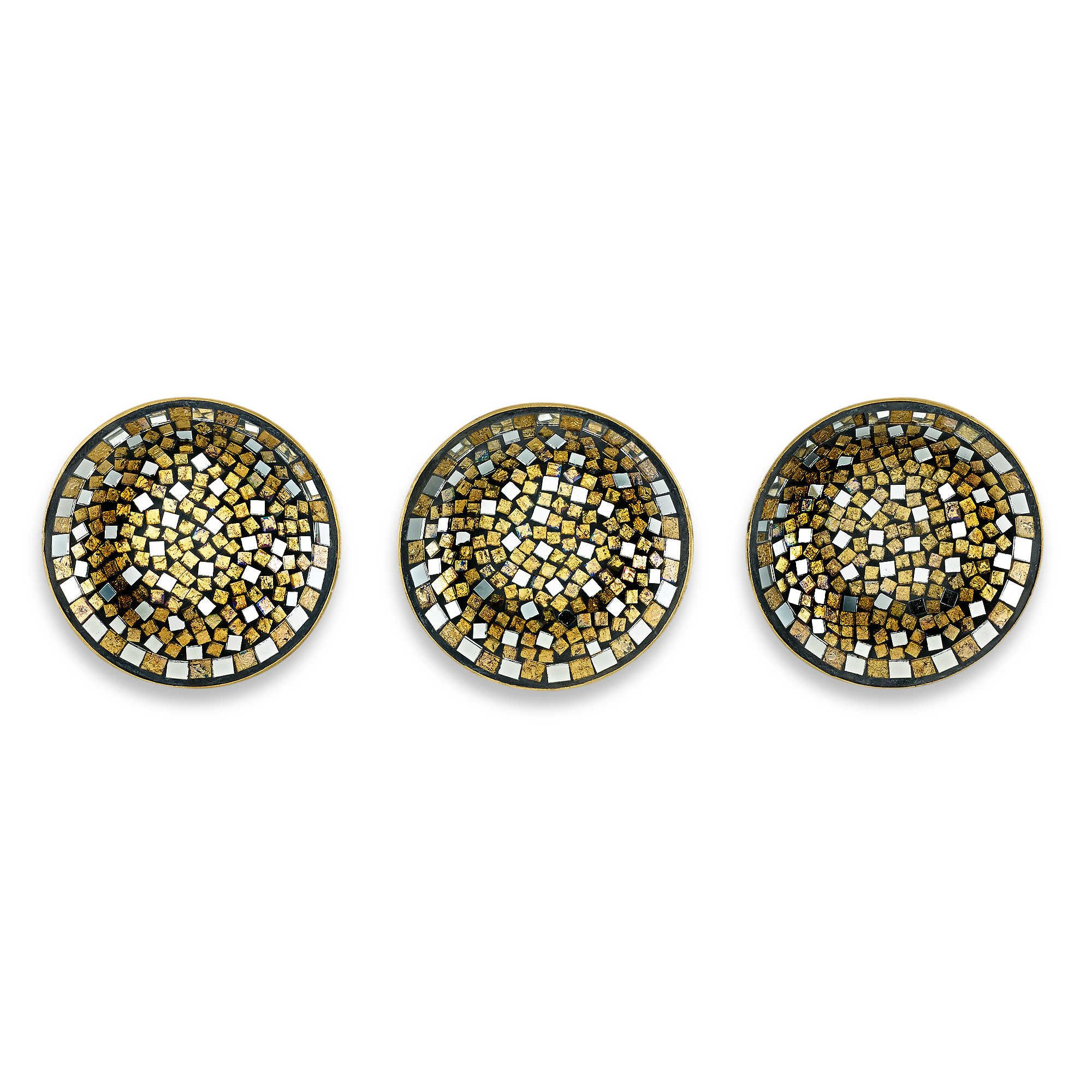 Mosaic Bronze Plate Set Wall Décor Of 3