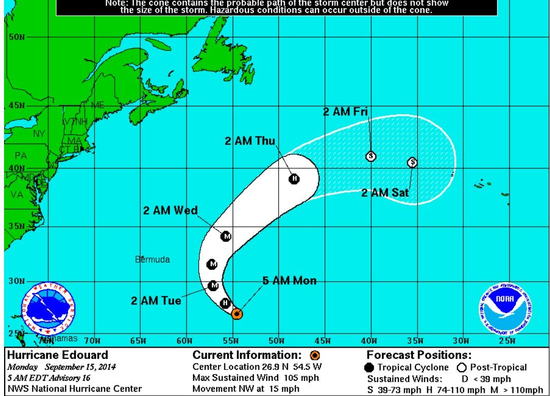 Hurricane Edouard Update See Ya Later Edouard Though Edouard Has Strengthened Into A Category 2 Storm Its Project Offshore Outer Banks Rentals Storm Center