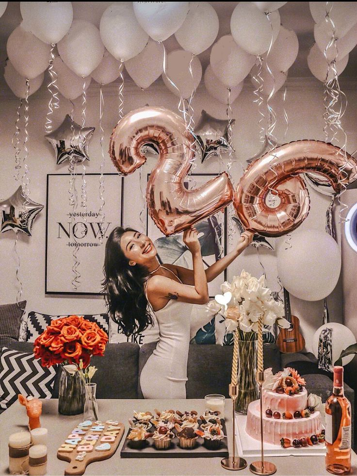 Rose Gold Birthday Number Balloon With White Balloons Birthday