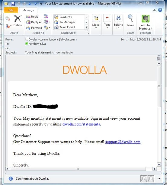 An Example Of DwollaS Monthly Statement Reminder Email  Ux
