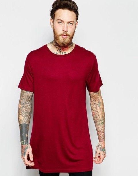 Camiseta masculina swag longline oversized alongada vermelha barra reta  Gamer 33 LOJA HDR a0083ab4741