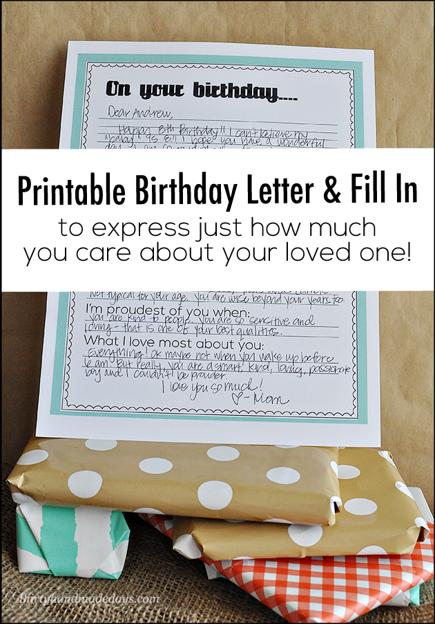 Printable Birthday Letter  Grandchildren Sons And Birthdays