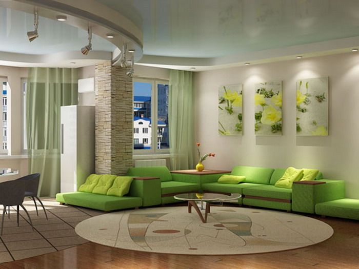 Wohnzimmerwand grün ~ Feng shui wanddeko wohnzimmer grünes sofa kaffeetisch ruder