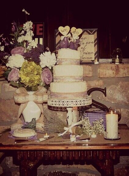 Purple, burlap, and lace wedding.