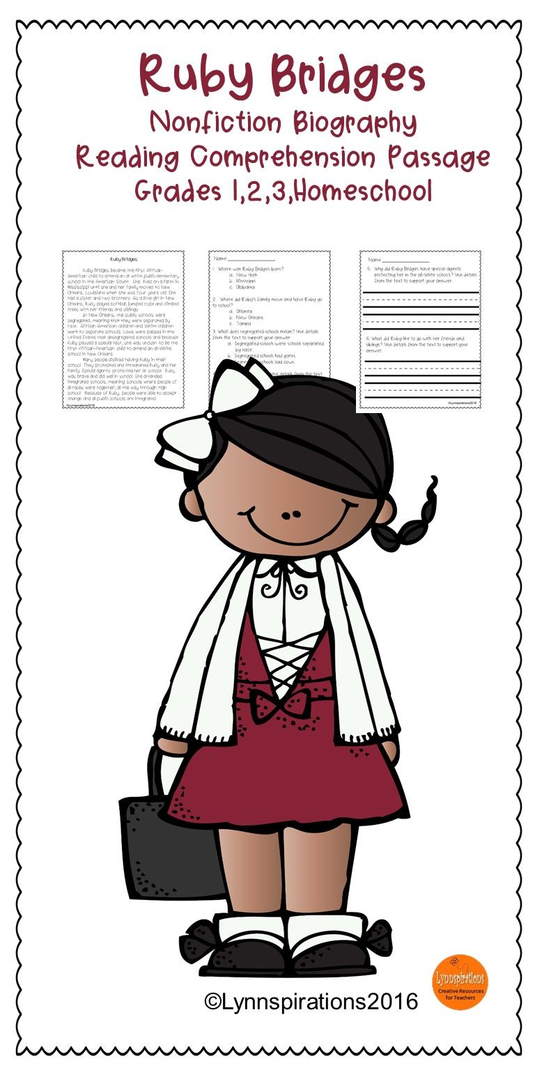 black history month reading passage ruby bridges reading comprehension passages reading. Black Bedroom Furniture Sets. Home Design Ideas