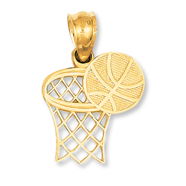 14K Solid Two-Tone Rose /& Yellow Gold Basketball and Net Charm Pendant 3 grams