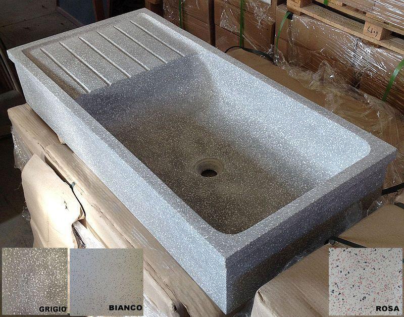 Lavandino lavello acquaio pilozzo in graniglia di marmo cemento cm90 ...