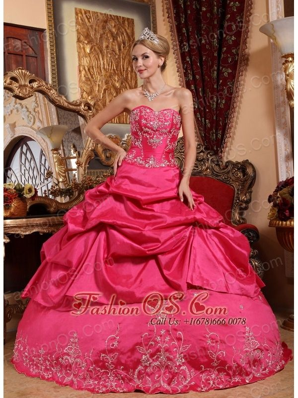 f8707a4a6f Impression Hot Pink Quinceanera Dress Sweetheart Taffeta Embroidery with  Beading Ball Gown www.fashionos.com Are you joining in the party  Do you  want to be ...