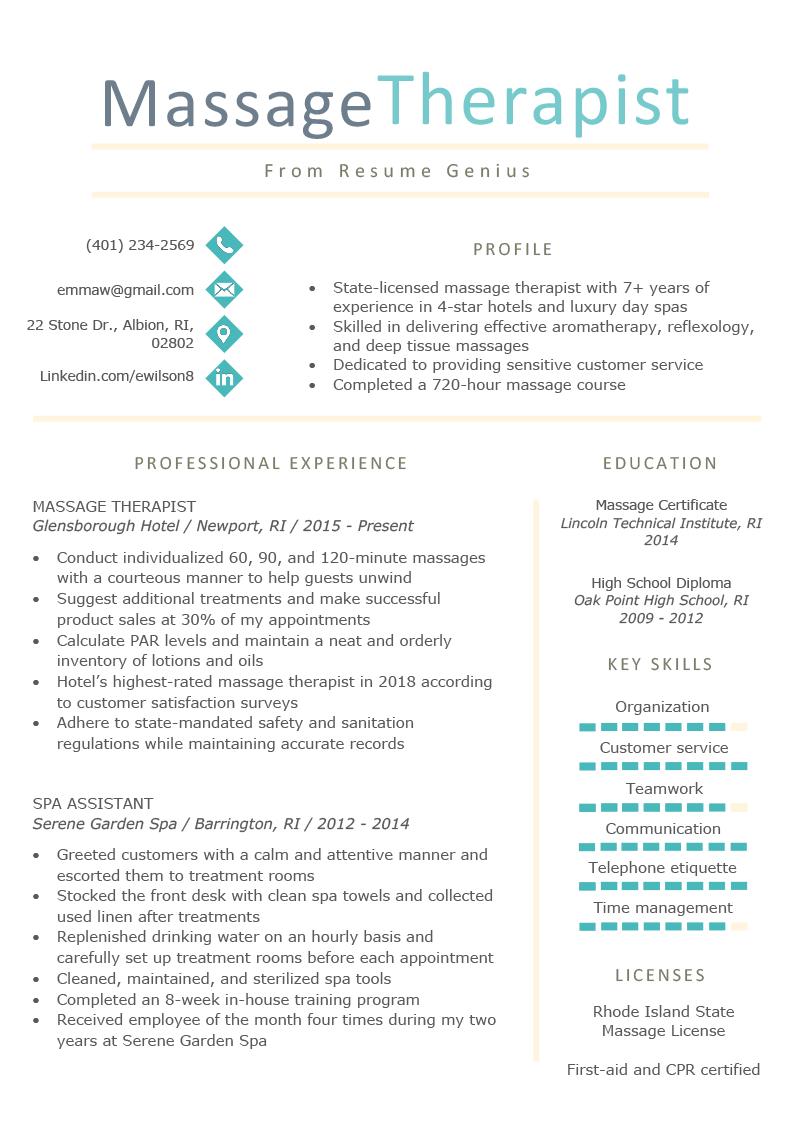 Massage Therapist Resume Sample & Writing Tips Resume