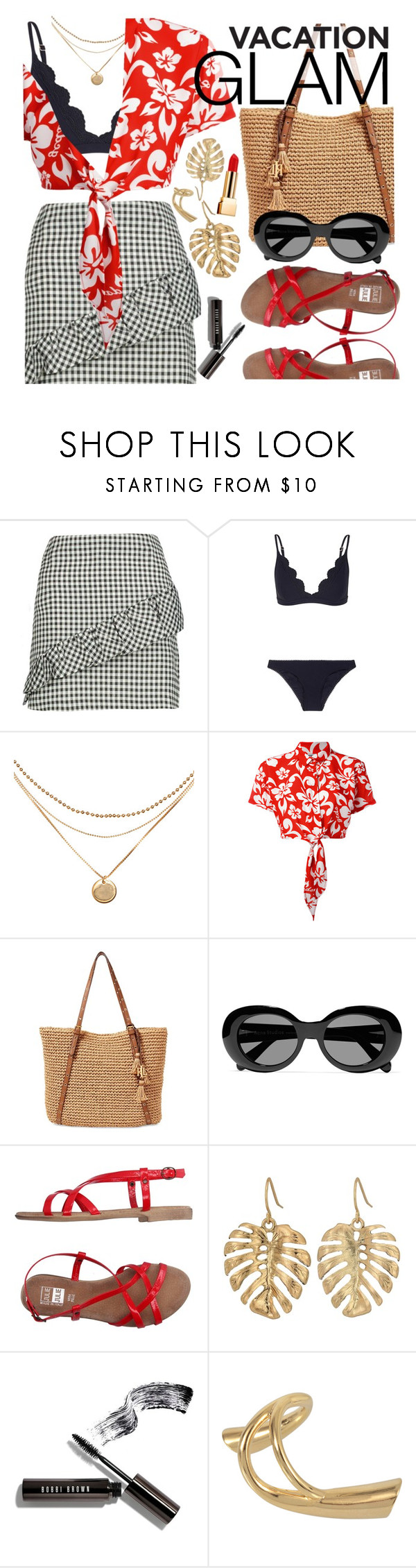 """Vacation Glam"" by ivansyd ❤ liked on Polyvore featuring Boohoo, Zimmermann, GCDS, Lauren Ralph Lauren, Acne Studios, The Sak, Bobbi Brown Cosmetics, Charlotte Chesnais, Yves Saint Laurent and FloralTop"