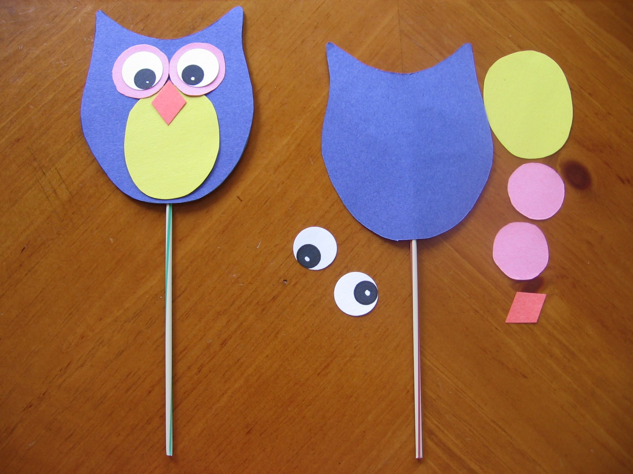 Delightful Owl Craft Ideas For Kids Part - 2: Easy But Great-looking Owl Craft For Kindergarten! (Can Also Just Clue The  Craft To A Piece Of Colored Background Paper, Without The Puppet Stick)