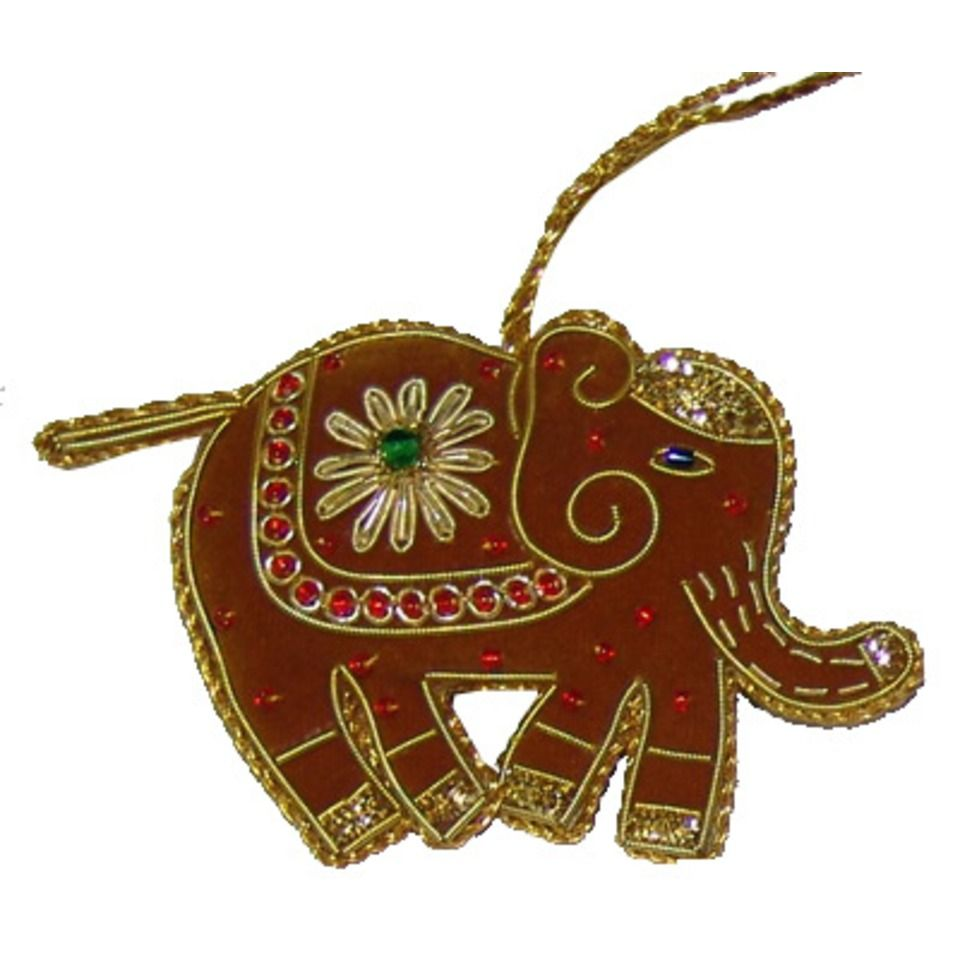 Red Elephant Christmas Decoration With Zari Embriodery Christmas Decorations Embroidered Christmas Ornaments Elephant Ornament