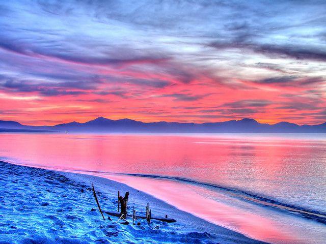 Pink Sea Beach Wallpaper Beautiful Sunset Photo