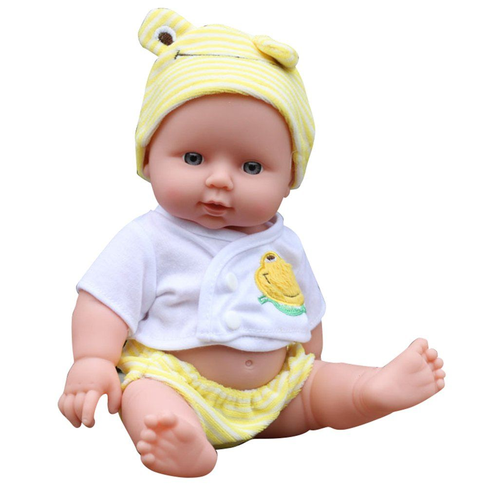 REBORN Kids Baby Doll Soft Silicone Lifelike Sound Laugh Cry Baby Toy