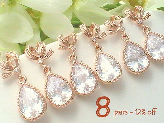 Set Of 8 12% Off Bridesmaid Jewelry Bridesmaid Gift, Maid of Honor Gift for Bridal Shower Gift for Bridesmaids Jewelry Rose Gold Earring