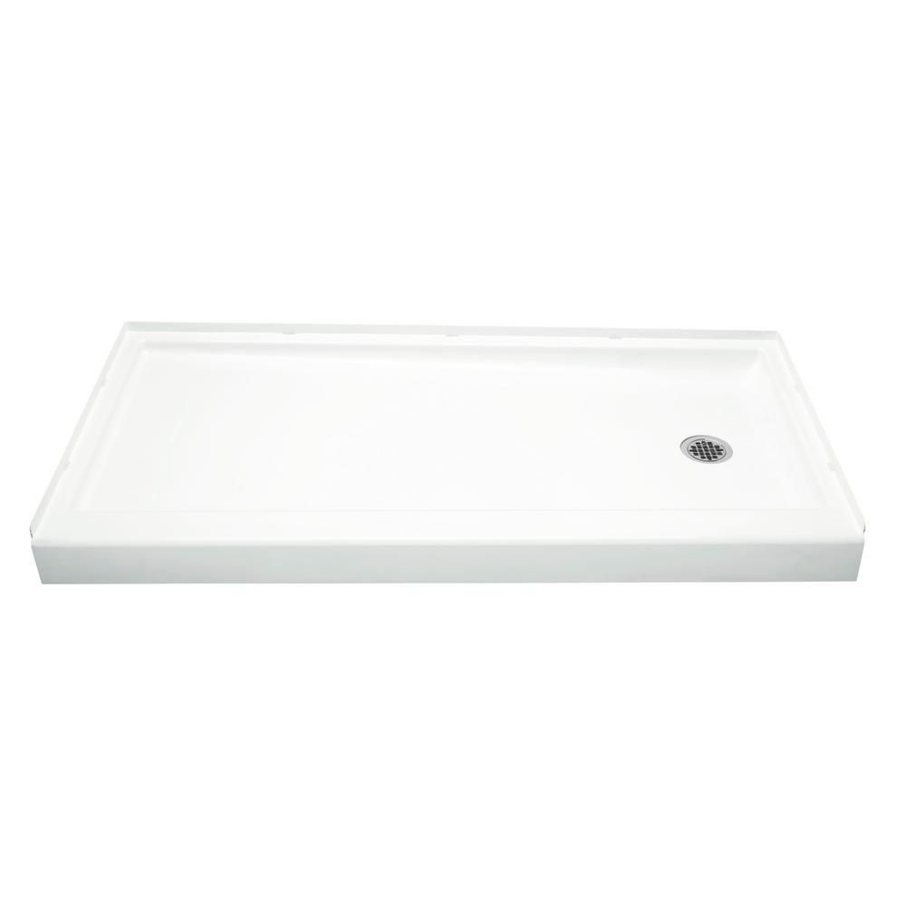 Sterling Ensemble 30 In X 60 In Single Threshold Right Hand Shower Base In White 72171720 0 Shower Base Shower Floor Fiberglass Shower