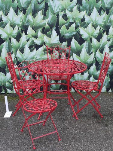 French Ornate Red Wrought Iron Metal Garden Table and Chairs Bistro ...
