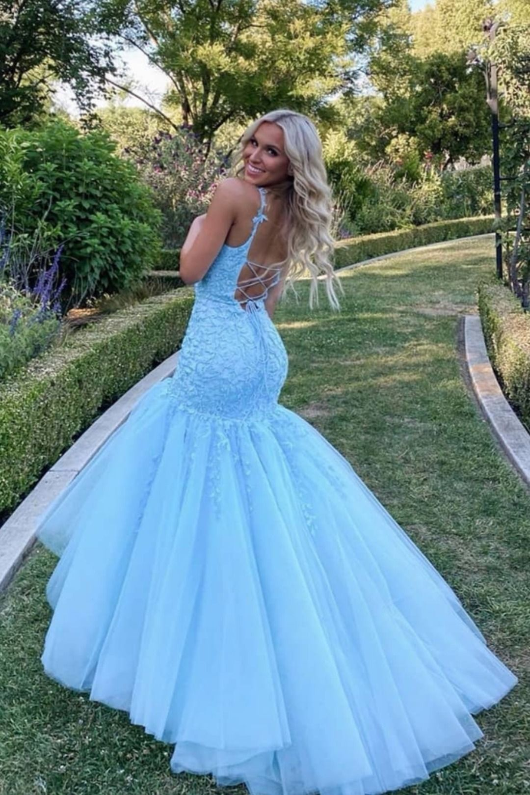 Straps Mermaid Light Blue Lace Appliqued Long Prom Dress Light Blue Dress Formal Dresses Formal Dresses [ 1619 x 1080 Pixel ]