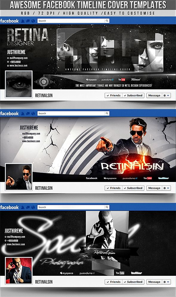 PSD Awesome Facebook Timeline Covers 3in1 by retinathemes on