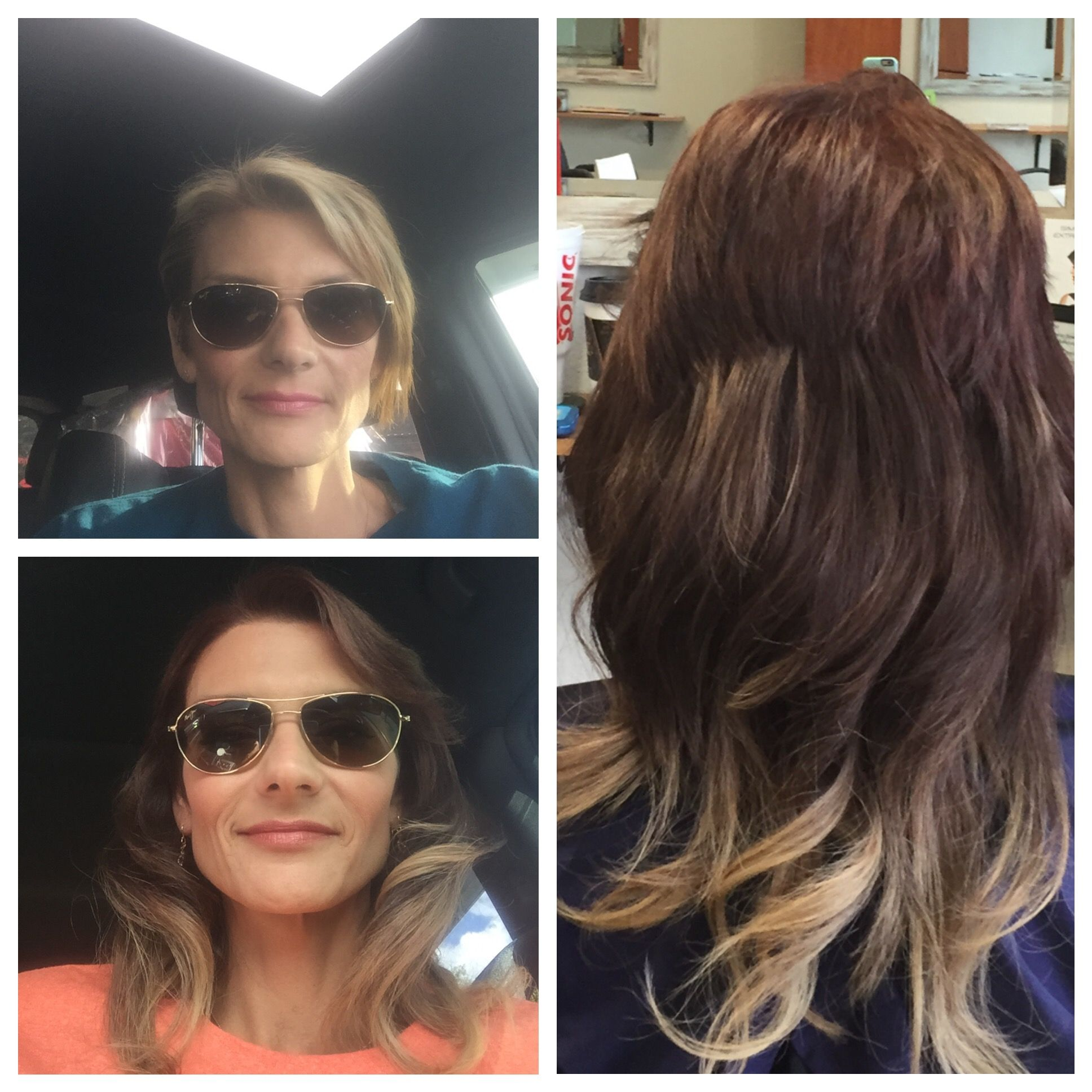 Before And After Tape Hair Extensions Short To Long Hair Hair