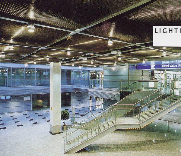airport dusseldorf ceiling downlight atrium