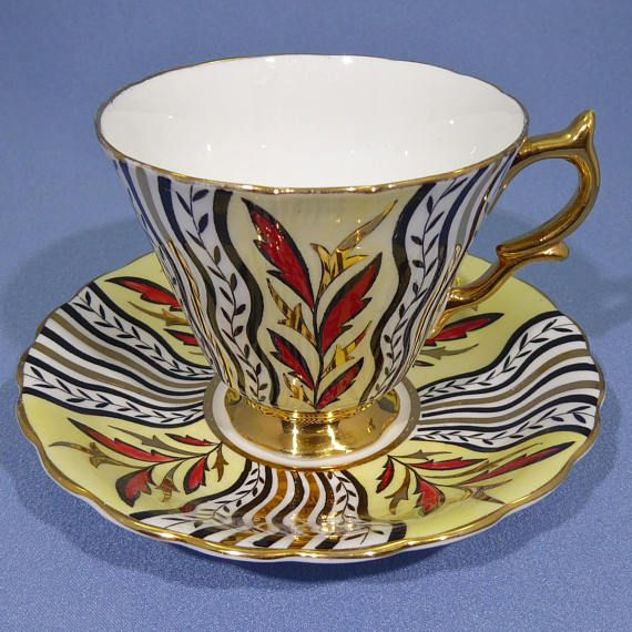 Offering A Very Rare Taylor And Kent Tea Cup And Saucer Set This One Is So Different With Rich Art Deco Design Hand Painted Gold Red And In 2020 Tea