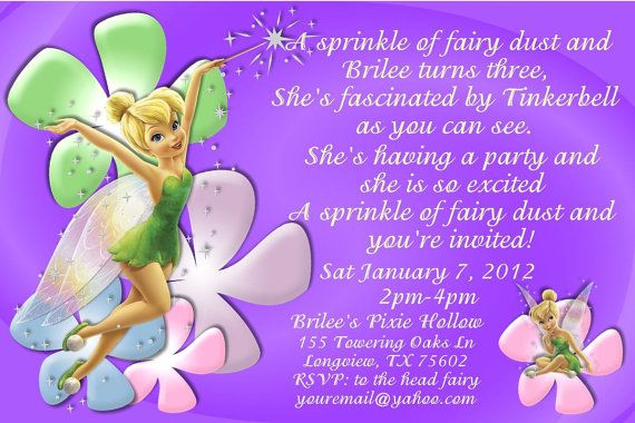Tinkerbell Birthday Invitation OR Thank You Card DIGITAL