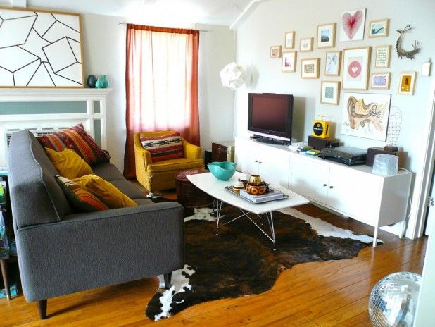 Small space living room decorations with brown cowhide rug under ...