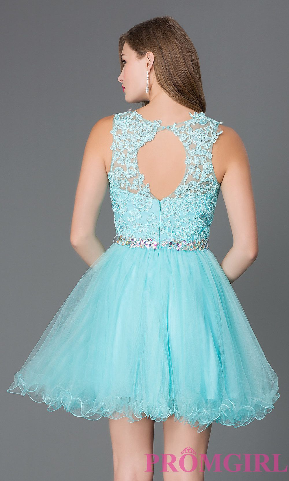 Image of short sleeveless tulle skirt lace top beaded waistband ...